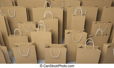 Rows of different shopping bags. Seamless loopable 4K clip,...