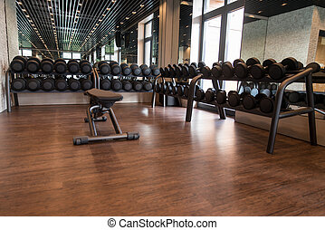 Rows Of Dumbbells In The Gym - Equipment And Machines At The...