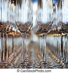 Rows of Empty Wine Glasses on the table