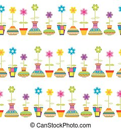Rows of flower pots seamless background