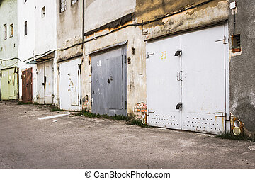Rows of garages in a car cooperative