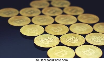 Rows of glowing gold coins - Composition of new golden coins...