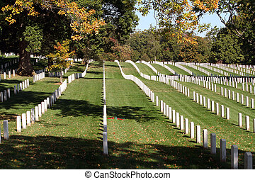 Arlington National Cemetery - Rows of gravestones at...