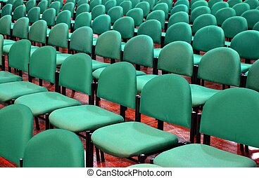 Green Chairs in a Seminar Hall - Rows of Green Chairs in a...
