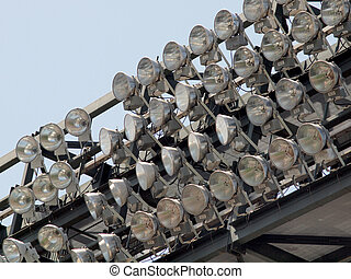 Rows of High Power Stadium Lights attatched to top deck
