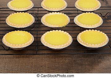 rows of lemon tarts cooling