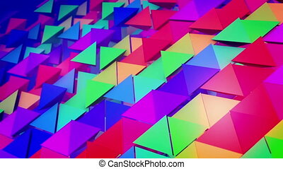 """Rows of lengthy colored pyramids"" - ""Encouraging 3d..."