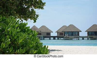 Rows of Luxury Bungalows at a Beach Resort in the Maldives -...