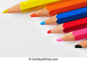 Rows of pencils isolated on white