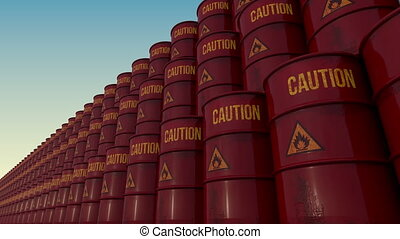Rows of red barrels with flammable content signs. 4K...