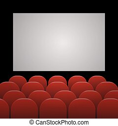 Rows of red cinema or theater seats in front of white blank screen with sample text space eps 10