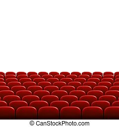 Rows of red cinema or theater seats in front of white blank screen. Wide empty movie theater auditorium with red seats. Vector illustration