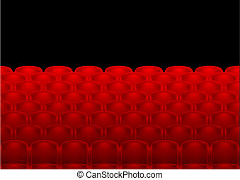 rows of red seats - illustration of red seats in rows