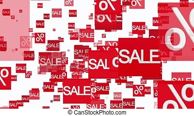 Rows of sale and percent in red on white color