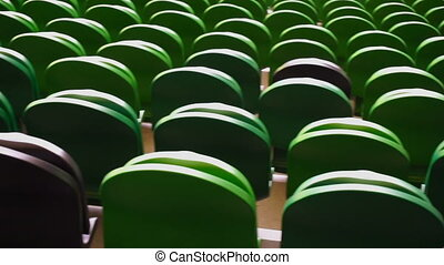 Rows of seats in a football stadium.