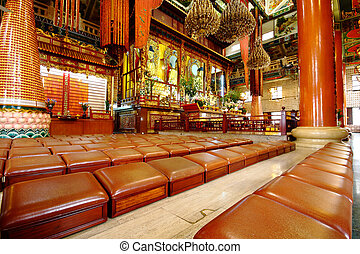 rows of seats in chinese temple