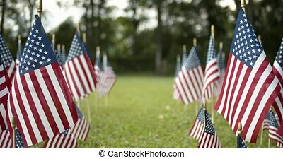 Rows of slow waving US American flags blowing in the wind. Patriotic concept for USA holidays, 4th of July, Memorial day, or Veteran's day.