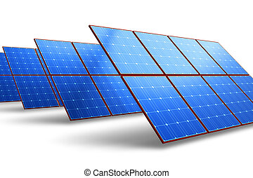 Rows of solar battery panels isolated on white background