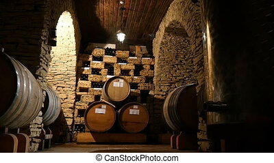 Rows Of Wine Barrels In A Cellar - Dolly shot of the rows of...