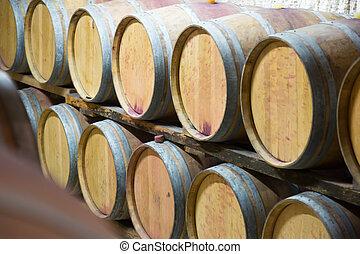 Rows of   wooden barrels