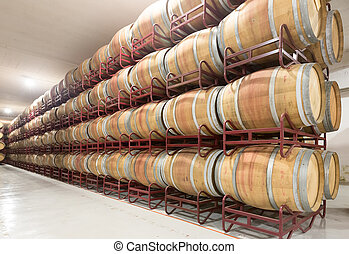 Rows with wooden barrels