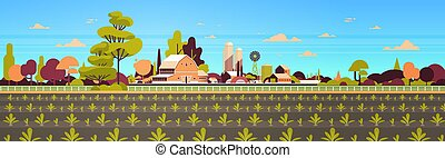 rows young freshly germinated plants vegetable plantation agriculture and farming concept farmland field countryside landscape background flat horizontal banner vector illustration