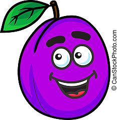roxo, ameixa, fruta, caricatura