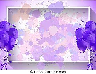 roxo, balões, quadro, desenho, modelo