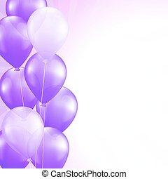 roxo, balões, vetorial, borda, fundo