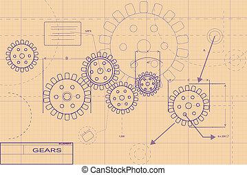 roxo, blueprint, esquema, ilustração