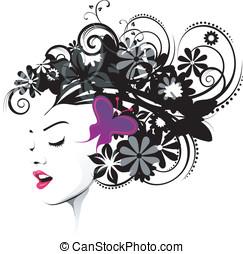 roxo, borboleta, penteado