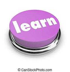 roxo, botão, -, aprender