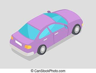 roxo, car, isolado, ilustração, janela, vetorial
