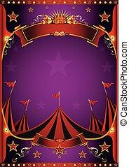 roxo, cartaz, circo