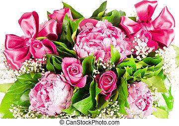 roxo, cor-de-rosa, buquet, fita