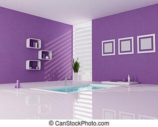 roxo, e, branca, minimalista, banheiro