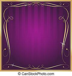roxo, e, ouro, em branco, quadrado, listrado, ornate, vetorial, fundo