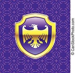 roxo, escudo, com, águia dourada