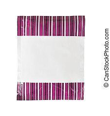 roxo, faixa, embalagem, folha, em branco, branca