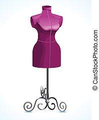roxo, femininas, mannequin