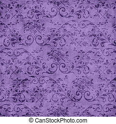 roxo, floral, tapeçaria, padrão