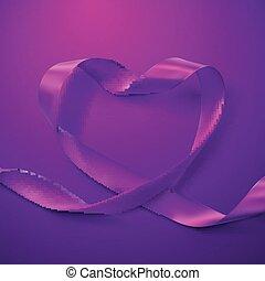 roxo, heart., fita