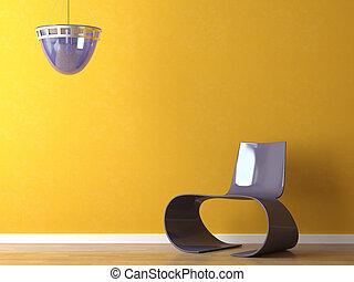 roxo, modernos, projeto interior, cadeira alaranjada, parede