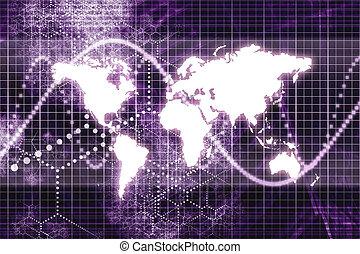 roxo, mundialmente, comunicações negócio