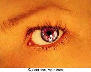 roxo, olhar fixo