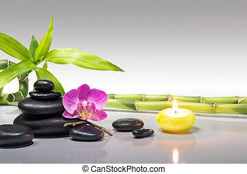 roxo, orquídea, vela, com, bambu