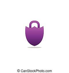 roxo, padlock, escudo, logotipo, desenho, modelo, vetorial