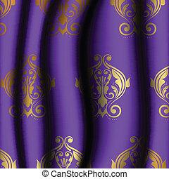 roxo, padrão, material, ouro