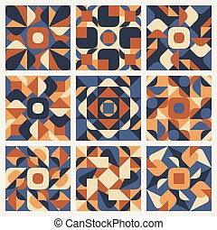 roxo, padrão, seamless, vetorial, retro, étnico, laranja, geomã©´ricas