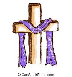 roxo, pano, madeira, crucifixos